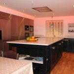 Pastel rose lighting from kitchen RGBW LEDs
