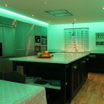 Soft green lighting from kitchen RGBW LEDs