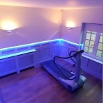 Cinema/workout room with multizone LED installation