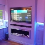 Cinema room media panel - RGBW LEDs mix lilac light
