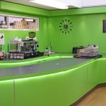 Green LED strips underlighting counter - Hithcin Girls School