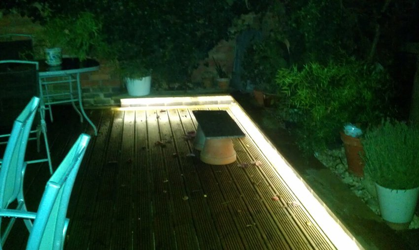 decking edges lit by leds at night