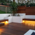 Garden benches with warm-white LED underlights #1