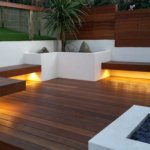 Garden benches with warm-white LED underlights #2