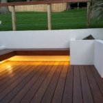 Garden benches with warm-white LED underlights #3