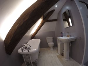 Loft bathroom lit by pure-white LEDs