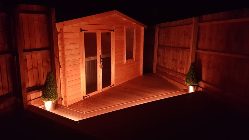 LED garden cabin for an outdoor hot-tub. Lit by 20-watt RGBW LEDs