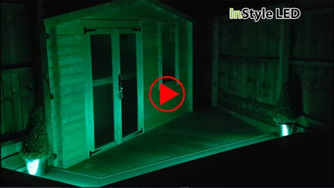 Garden cabin lit by RGBW LED strip lights
