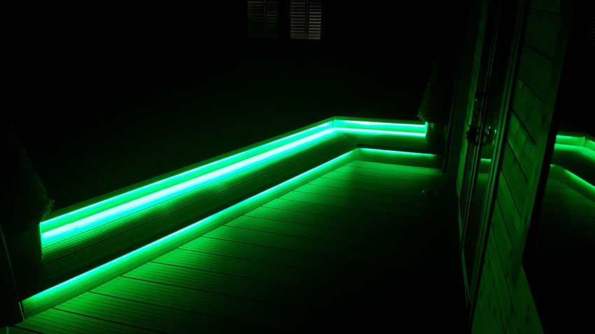 RGBW understep LED lights set to a green mix