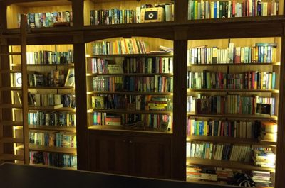 Bookcase with mains-dimmable LED feature-lights