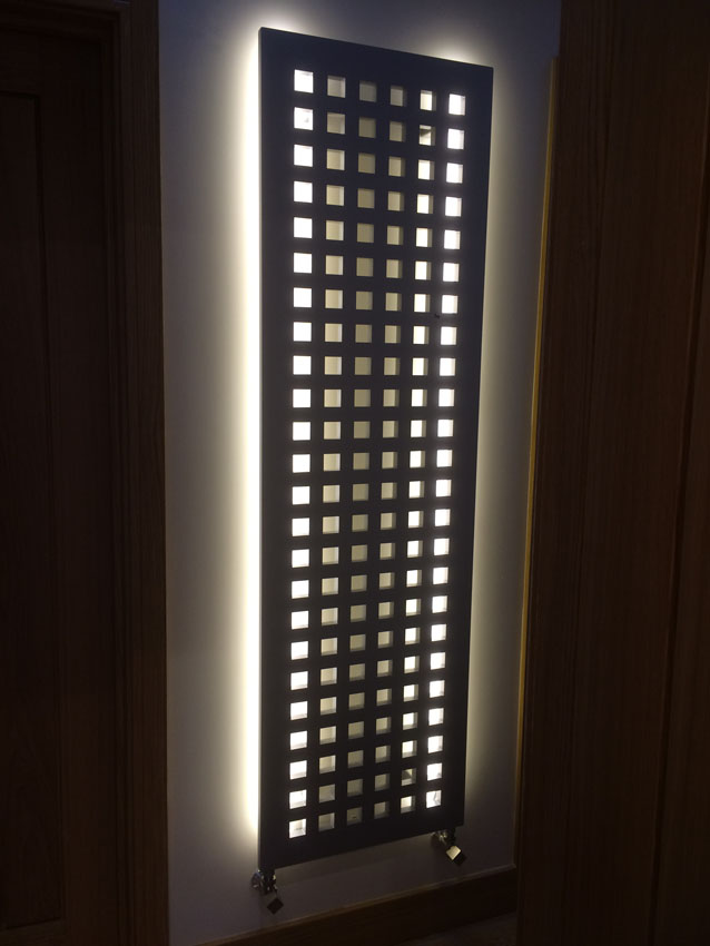 White LEDs backlight a radiator