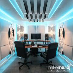 Make Me A DJ's top-of-the-range recording studio, with RGBW LEDs set to pastel-blue light