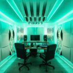 Recording studio with 20W RGBW LED lighting