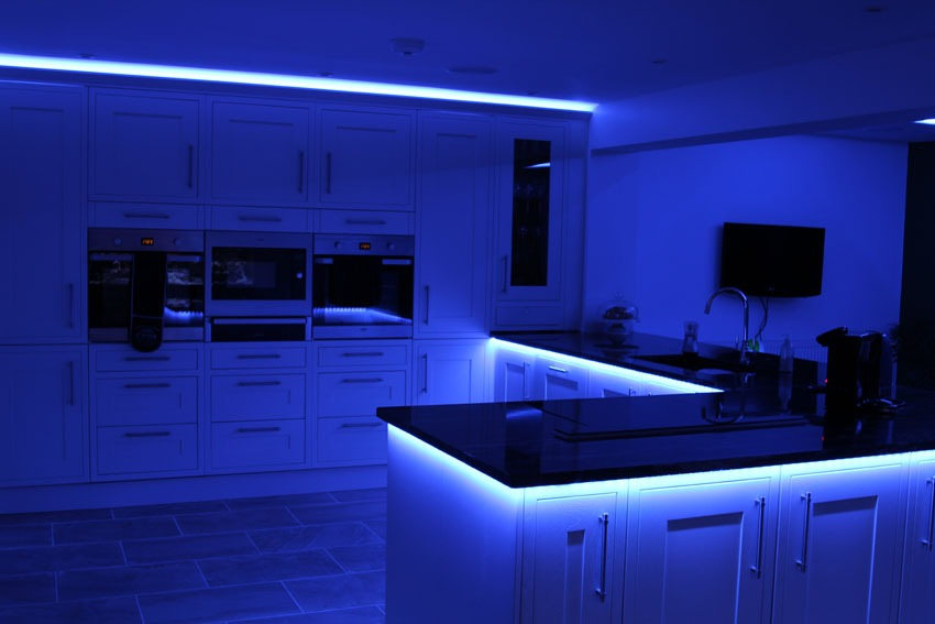 counter-top downlights set to blue