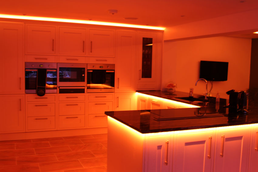 counter-top downlights set to fiery orange