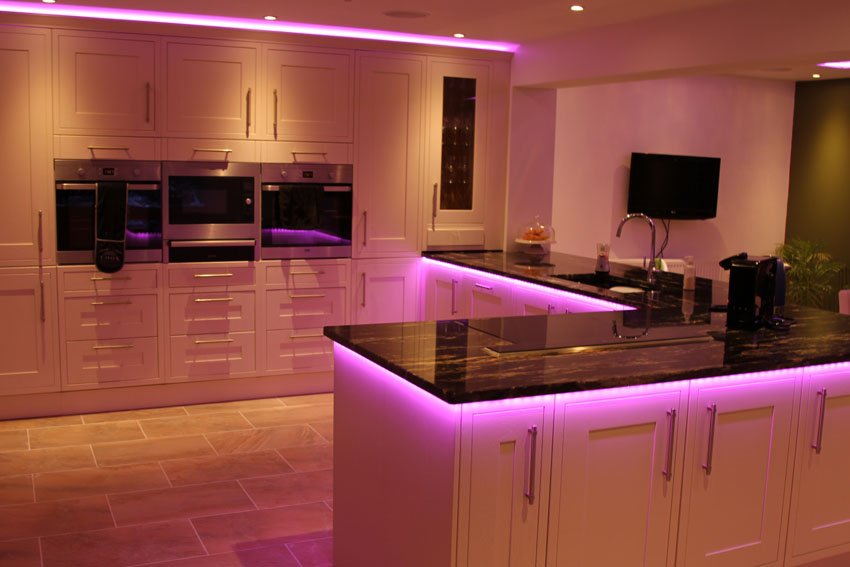 counter-top downlights set to pink