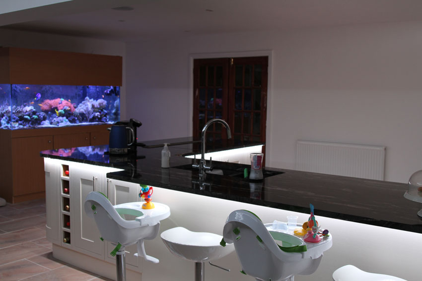 countertop downlights and twin fitted high-chairs