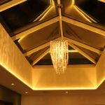 10W RGBW LEDs on ut-out ceiling coving mixing rich gold light