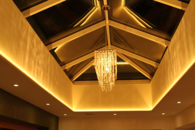 Golden light from RGBW LEDs in this skylight