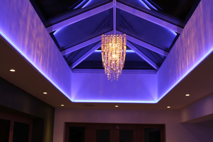 cut-out ceiling uplights mixing mauve light