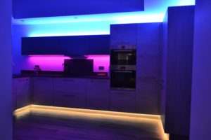 Kitchen RGBW LEDs are split across three independent lighting zones - plinths, cabinets and drop ceiling