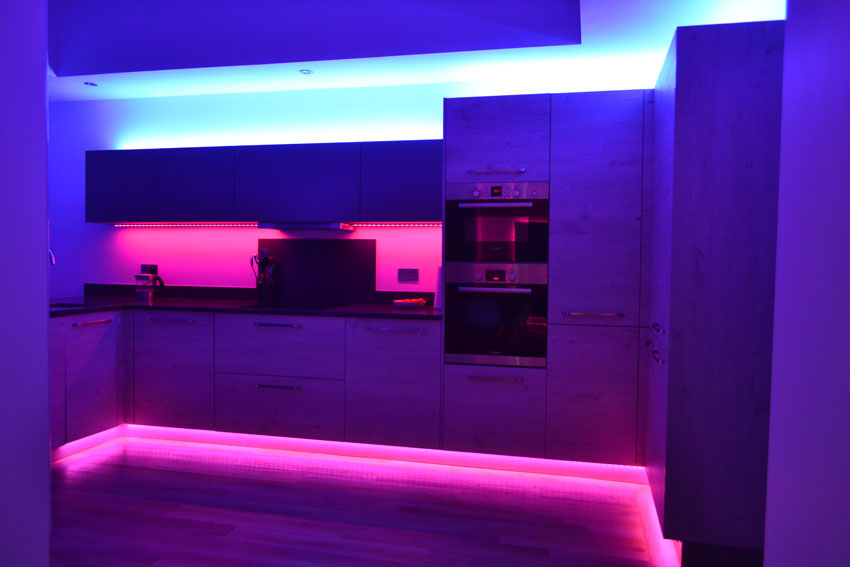 Choose leds for plinth kickboard skirting board feature lights run 2 core cable to your whitesingle colour led tape from it as long as its no more the 10 metres 1mm cable will be fine aloadofball Image collections