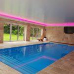 Pool windows - RGBW LEDs mix pink light