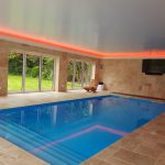 Pool windows - RGBW LEDs mix orange light