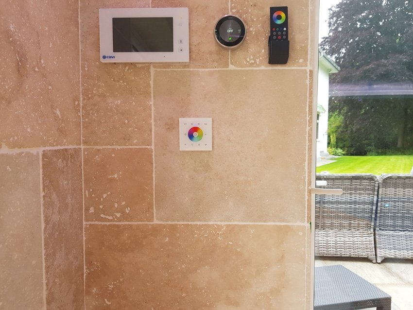 Remote and wall-mounted controllers for poolhouse RGBW LEDs