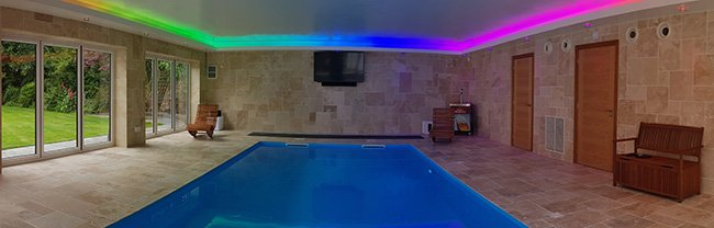 Colour-change (RGBW) LEDs light this swimming pool
