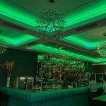 Roc & Rye ceiling coffer LEDs set to static green lighting