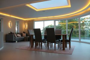Ceiling remodelled to house LED striplights