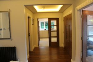 Hallway with drop-ceiling LEDs