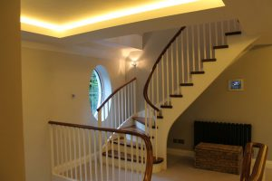 Mezzanine staircase and LEDs
