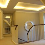 Upper-landing staircase with warm white 12V LED coffer ceiling