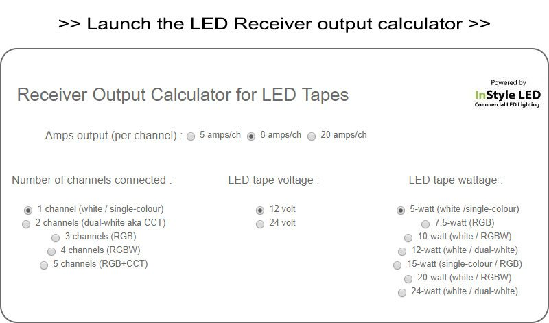 Launch InStyle's LED Receiver Output calculator