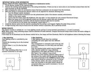 Installation instructions for the Aurora TRIAC dimmer