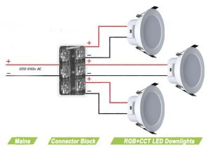 5-colour LED downlights (RGB+CCT) - wiring diagram