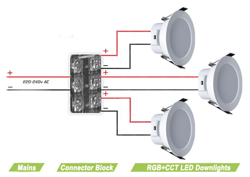 rgb + dual-white led downlight | mains power (~230v ... downlight wiring diagram