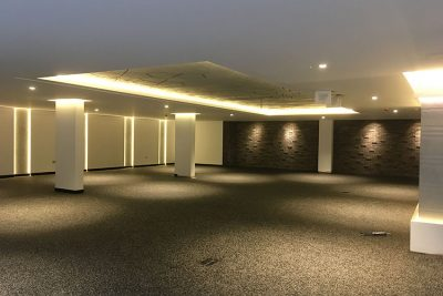 Warm-white light creates a wall-wash effect from these 10-watt LED tapes