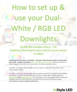 Set-up instructions for the RGB + Dual-White LED Downlight phone app