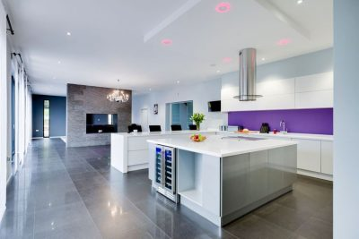 kitchen RGBW LED downlights set to pastel red