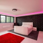 master bedrooom with RGBW LED coving - pink