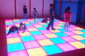 Children's dancefloor using RGB LED lightboxes