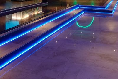 Stepped stage with blue LED feature lights