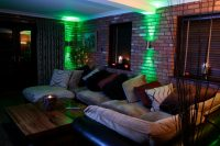 Dual-housing LED wall lights in a residential setting