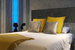 Bedroom RGBW LED highlights set to blue