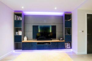 Media-panel RGBW LED feature-lights