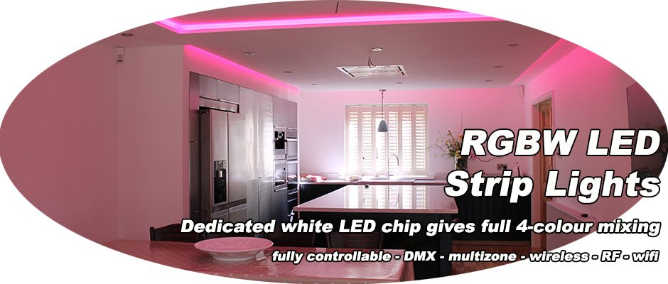 colour-change RGBW LEDs create kitchen moods