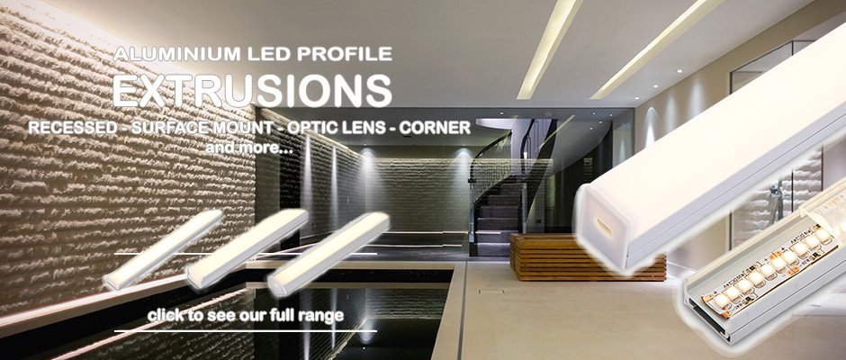 Full range of aluminium LED extrusions